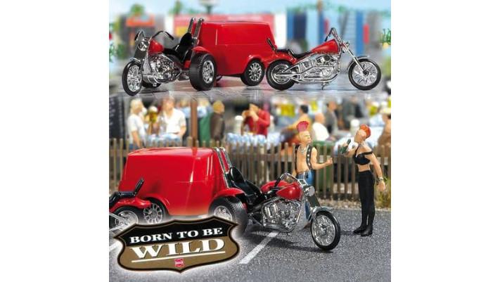 Trike avec remorque et moto