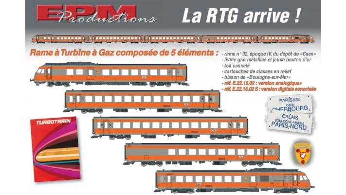 Set 5 Eléménts RTG, Rame N°32, Dépôt de Caen, ,SNCF, ep IV, DC