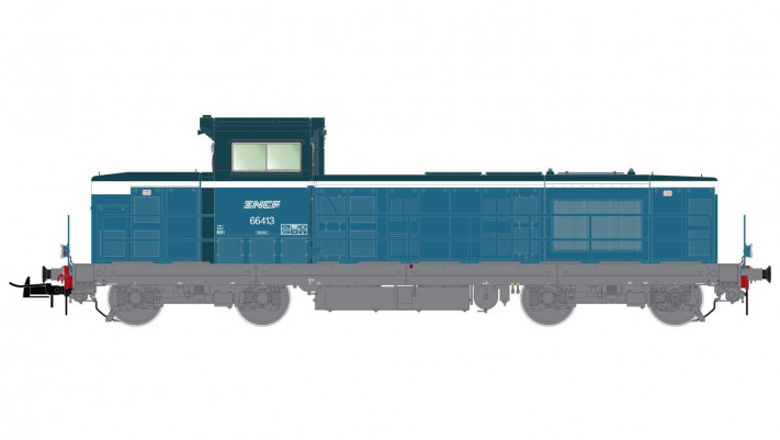 SNCF, diesel locomotive BB 66413 in blue-white livery with  spaghetti