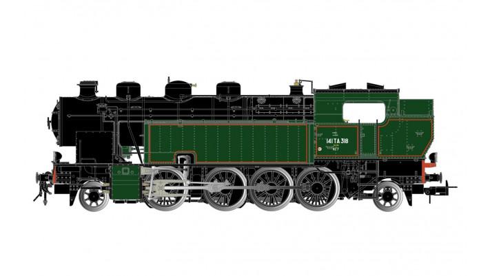SNCF, locomotive à vapeur 141 TA 318, livrée verte et noire, filets ro