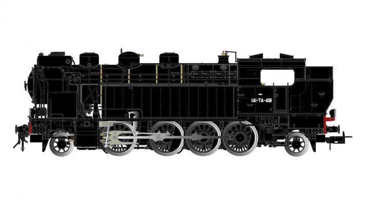SNCF, locomotive à vapeur 141 TA 481, livrée noire, ACFI, sans plaques