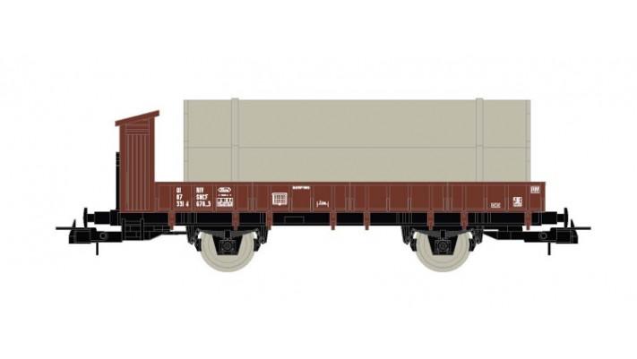 sncf Wagon plat à 2 essieux avec chargement de tuyaux