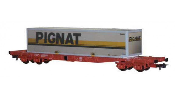 Wagon plat avec container   PIGNAT   -SNCF