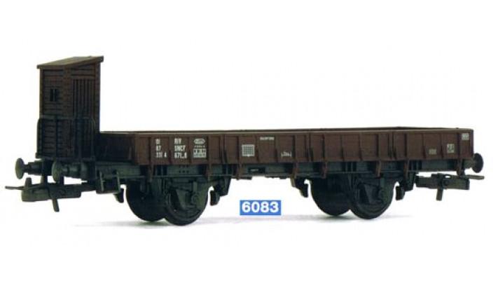 Wagon à bords plats avec guérite de freins, sans chargement