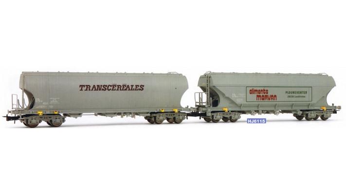 Coffret de 2 wagons céréaliers, à parois latérales planes et Bombées