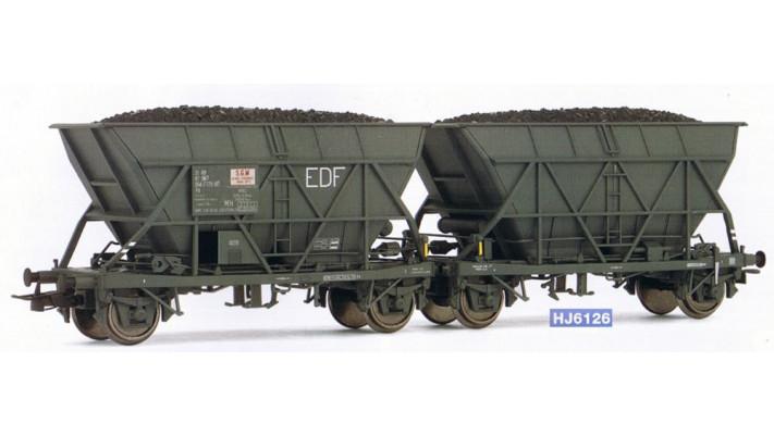 Couplage de wagons trémie EF60   EDF  , époque IV
