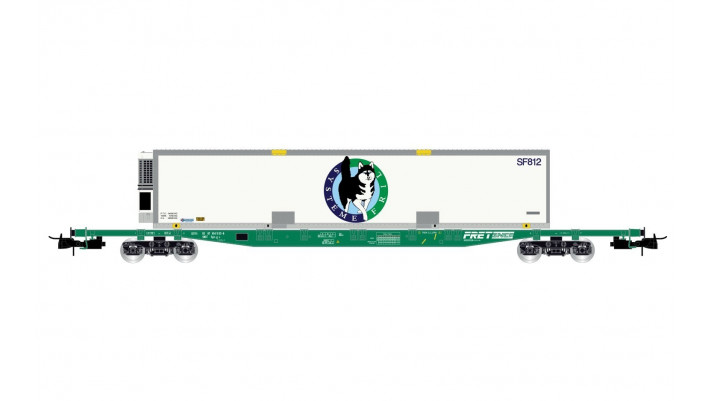 SNCF, 4-axle flat wagon Sgss, loaded with swap body  Système Fril , pe