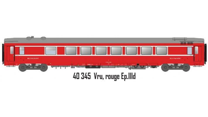 Voiture resto VRU  rouge  ep IIID SNCF