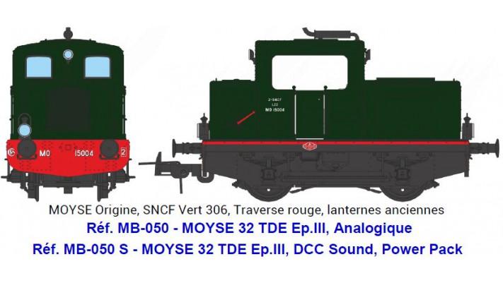 MOYSE 32 TDE Origine, SNCF Vert 306, Traverse rouge, lanternes ancienn