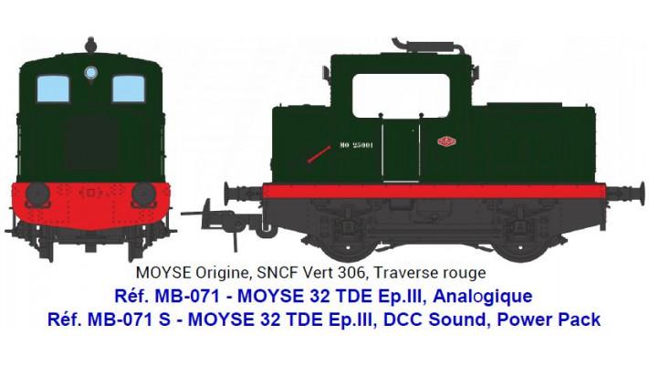 MOYSE 32 TDE Origine, SNCF Vert 306, Traverse rouge - ANALOGIQUE