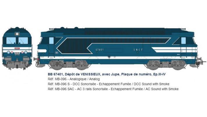 BB 67401, Dépôt de VENISSIEUX, avec Jupe, Plaque de numéro, Ep.III-IV