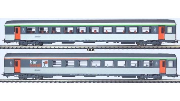 Set de 2 voitures Corail , logo nouille SNCF 2eme classe et 2eme/bar