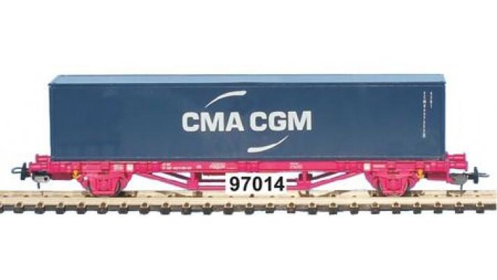 Wagonplat2 essieux SNCF avec caisse mobile   CMA CGM   Ep V