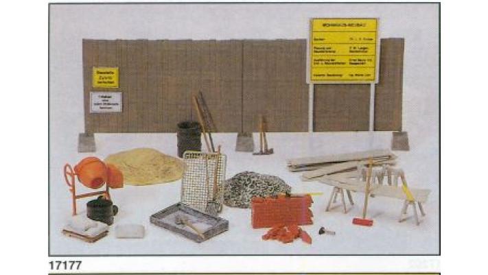 betonnière, outils, planches