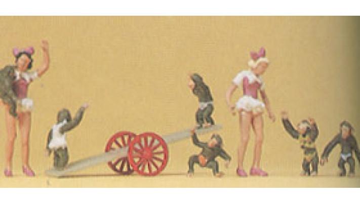 jeunes filles et singes
