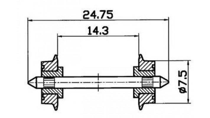 Radsatz 7,5mm isoliert     (F.