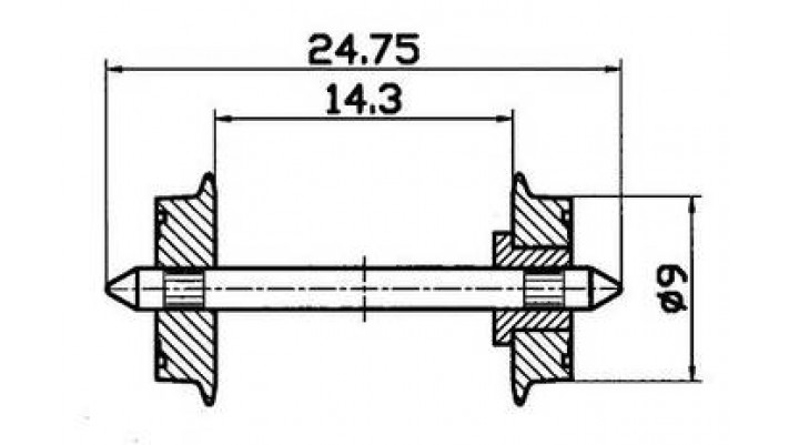 Radsatz eins.isol. 9mm    1 Pa