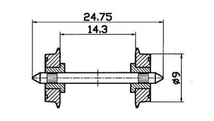 Radsatz 2fach isoliert 9mm 1 P