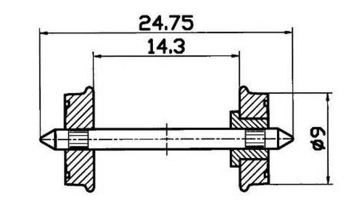 Radsatz isol. RP25 9mm    1 Pa