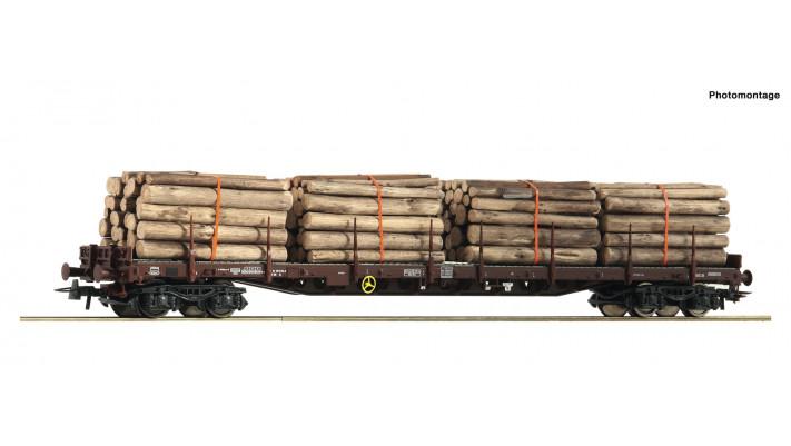 Rungenwagen 4a.+Holzbeladung