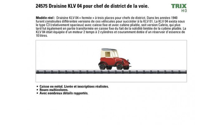 Draisine KLV 04 pour chef de district de la voie