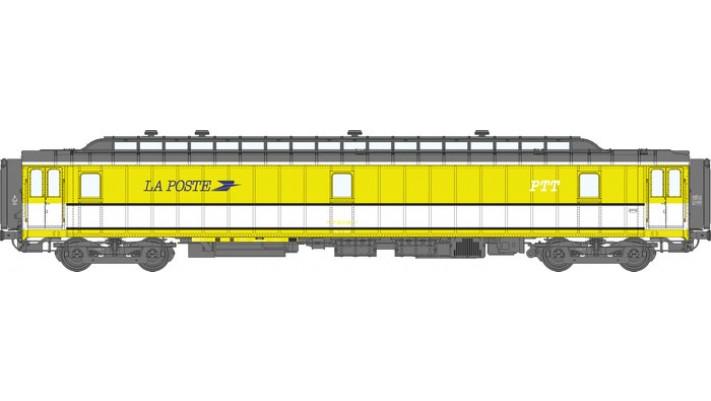 Voit. POSTALE OCEM 21,6 m Ep.IV - PAZ  jaune et bande blanche, toit gr