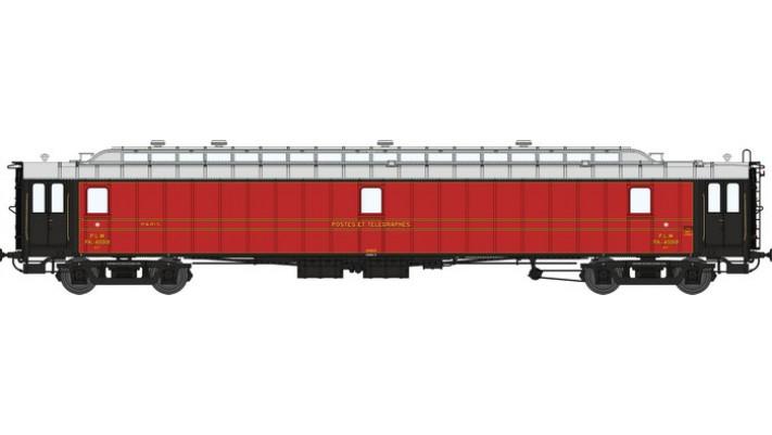 Voit. POSTALE OCEM 21,6 m Ep.II - PLM PAyi  rouge foncé, toit gris cla
