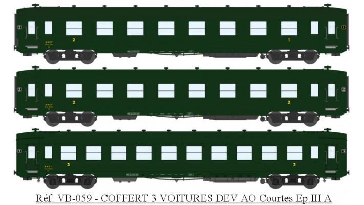 COFFERT 3 VOITURES DEV AO Courtes A3B5 toit noir, B8 et C10 toit vert