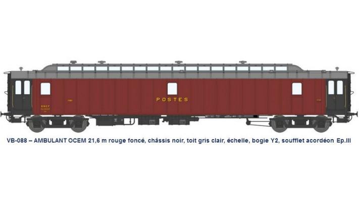 AMBULANT 21,6 m Ep.III rouge foncé, châssis noir, toit gris clair, éch
