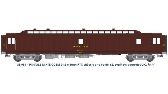 MIXTE brun PTT, châssis gris, bogie Y2, bourrelet UIC, PAz N°50 87 00-
