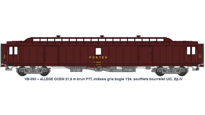 ALLEGE 21,6 m Ep.IV brun PTT, châssis gris, bogie Y24, bourrelet UIC,