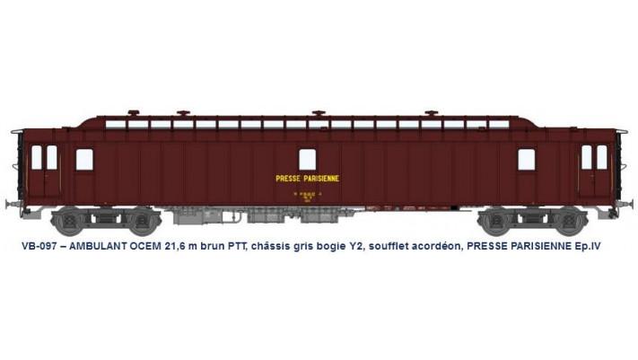 AMBULANT 21,6 m Ep.IV brun PTT, châssis gris, PRESSE PARISIENNE PAz N°