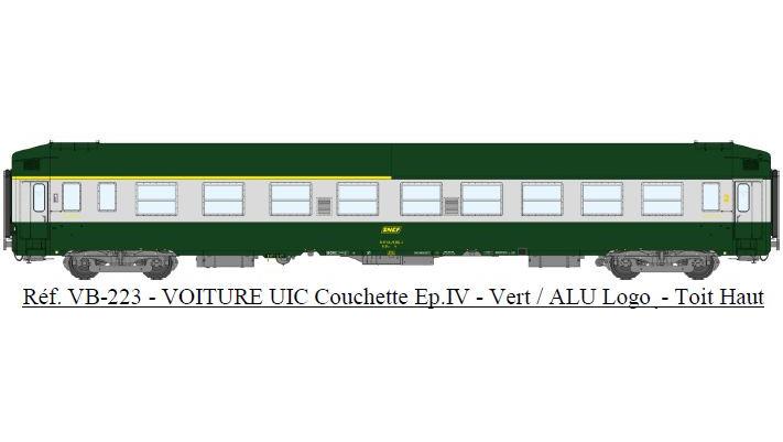 UIC Couchettes TH A4c4B5c5x, VERT/ALU, logo encadré jaune Ep.IV