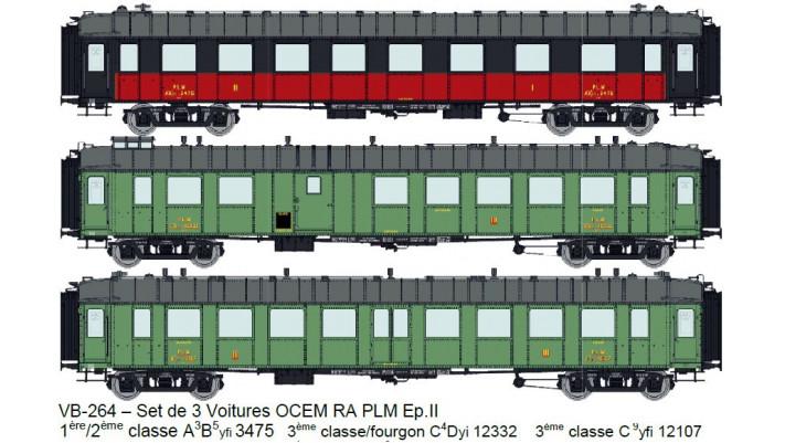 SET de 3 Voitures OCEM RA (A3B5yfi 3475 / C4Dyi 12332 / C 9yfi 12107)