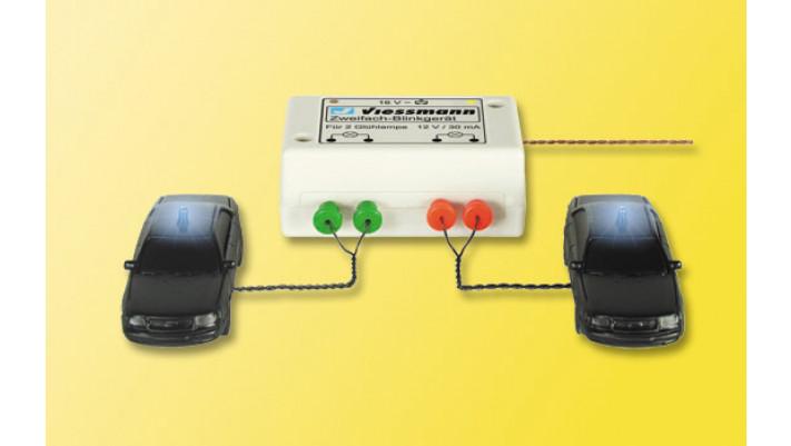 H0 Zweifach-Blinkgerät, mit zwei blauen Glühlampen