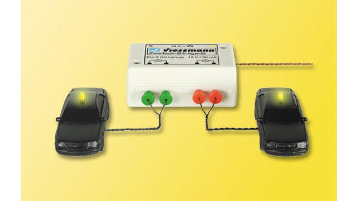 H0 Zweifach Blinkgerät, mit zwei gelben Glühlampen