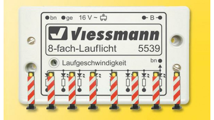 H0 Warnbaken, 8 Stück, mit Lauflichtelektronik