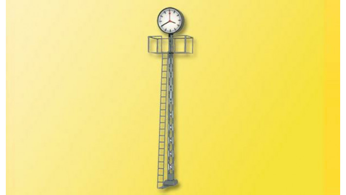 H0 Beleuchtete Bahnhofsuhr, auf Gittermast, 70 mm