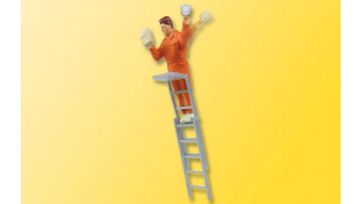 H0 Plakatkleber auf Leiter
