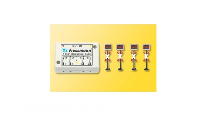 H0 Andreaskreuze, 4 Stück, mit Blinkelektronik