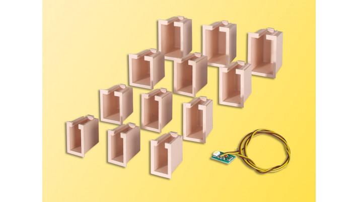 Hausbeleuchtungs-Startset, 12 Boxen, 4 verschiedene Größen u. 1 LED we