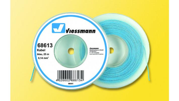 25 m Kabel auf Abspulrolle, 0,14 mm², blau