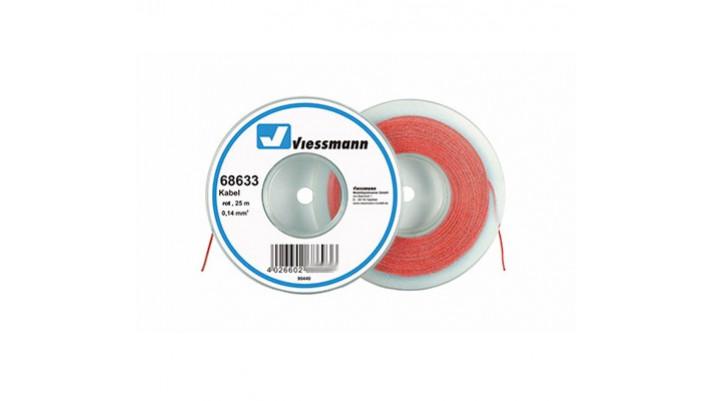 25 m Kabel auf Abspulrolle, 0,14 mm², rot