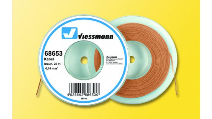 25 m Kabel auf Abspulrolle, 0,14 mm², braun