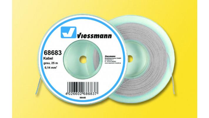25 m Kabel auf Abspulrolle, 0,14 mm², grau