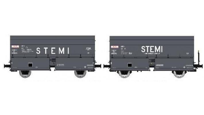 SET de 2 Wagons STEMI 56 2E Boîtes à Tampon, sans Plateforme sans frei