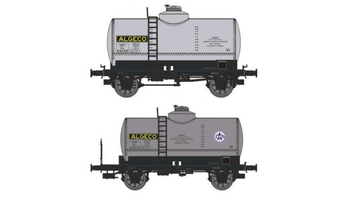 SET de 2 Wagons CITERNES rivetées, boites d'essieux à coussinets, frei