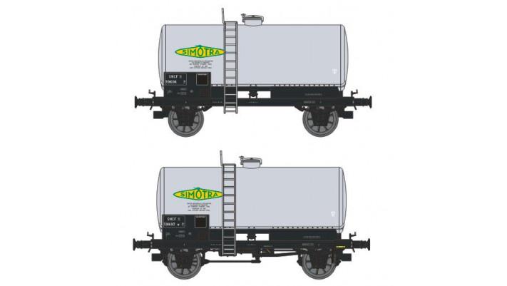 SET de 2 Wagons CITERNES soudées, boites d'essieux à coussinets, frein