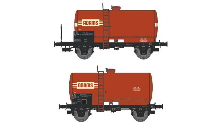 SET de 2 Wagons CITERNES soudées, boites d'essieux à rouleaux, platefo
