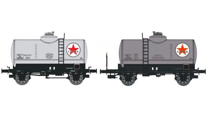 SET de 2 Wagons CITERNES rivetées N°596348 CALTEX boîtes d'essieux